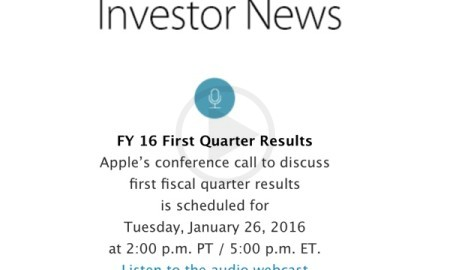 Apple to Announce Q1 2016 Earnings on The month of january 26